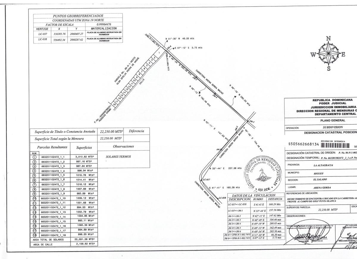 Vendo Solar de 3000 m2 en primera línea de la antigua carretera de Bávaro-Macao